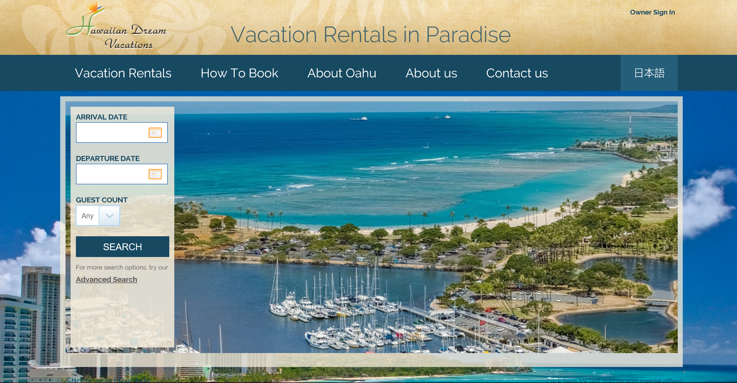 Hawaiian Dream Vacations Web Site Home Page