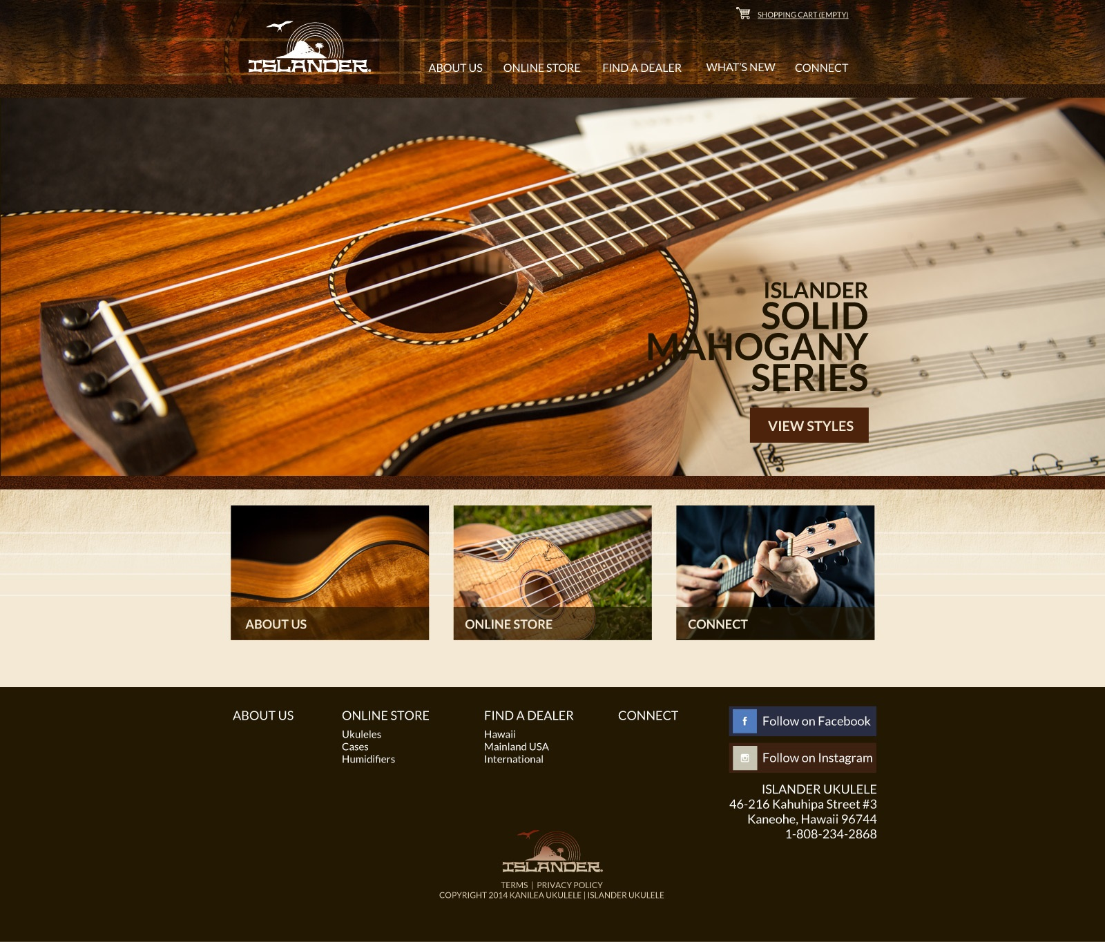 Islander Ukulele, Ukulele, web design, web site, home page, featured image