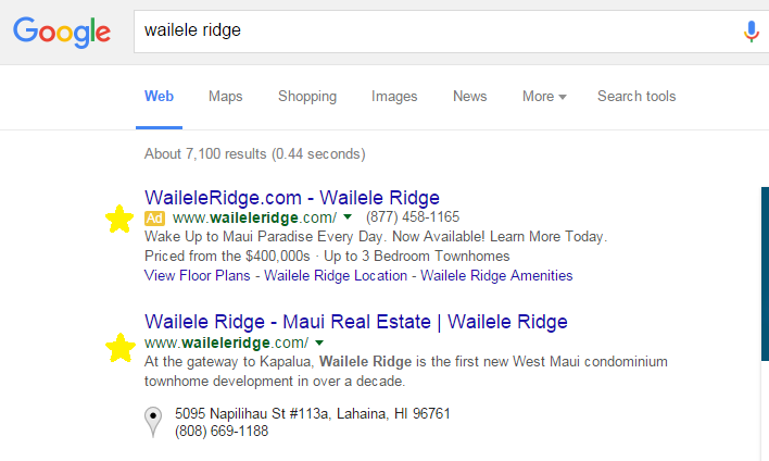 Search Engine Optimization, Wailele Ridge, Maui, Hawaii