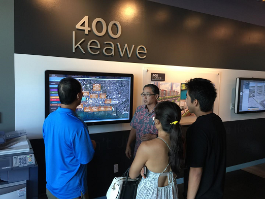 400 keawe, honolulu, sales office displays, real estate, touchscreens