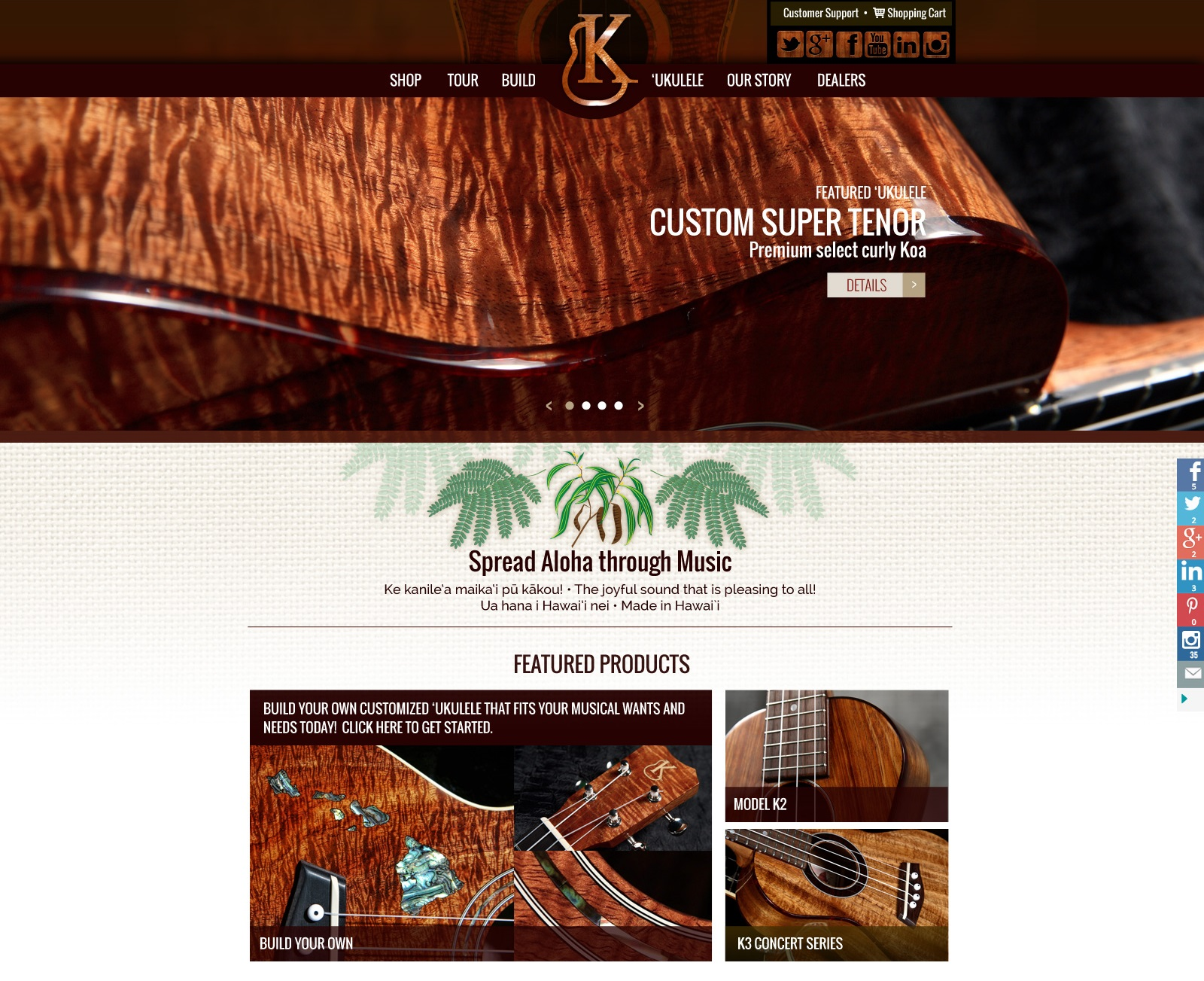 Kanilea Ukulele Hawaii Web Site