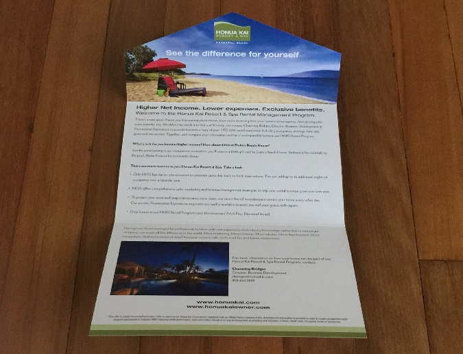 Honua Kai Real Estate Mailer Inside