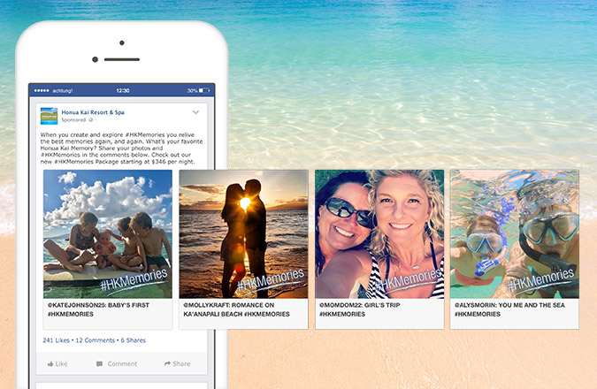 Social Media Marketing, Honua Kai Resort & Spa, Facebook Advertising, Carousel Ads, Customer Reposts, Team Vision Marketing Agency