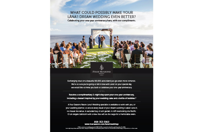 Hawaiii, Four Seasons Lanai, Weddings Ad