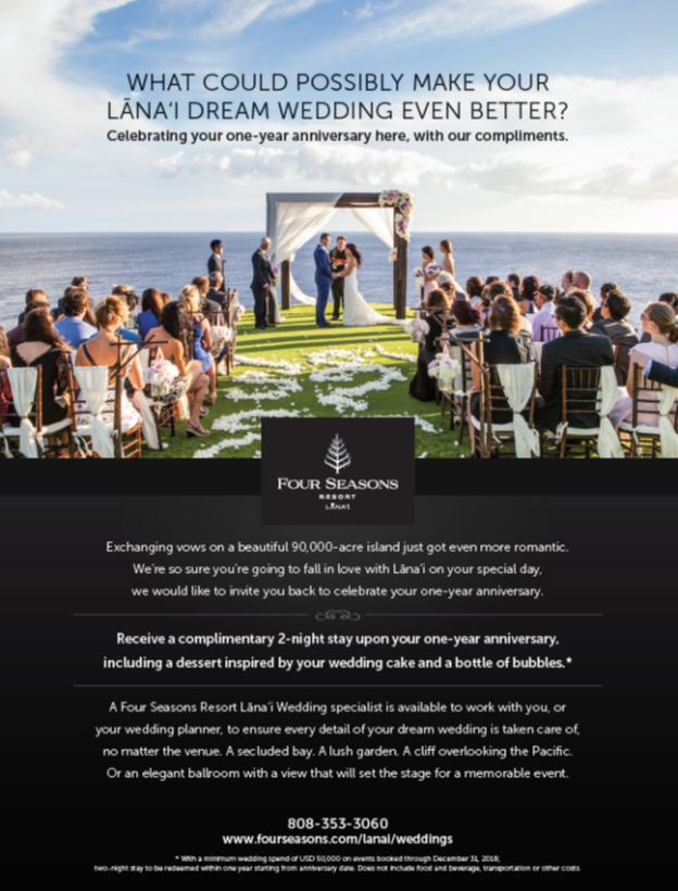 Advertising, Marketing, Weddings, Fours Seasons, Honolulu, Hawaii, Team Vision marketing