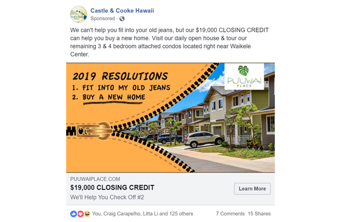 Facebook Ads, Facebook, Puuwai Place, Castle & Cooke Hawaii, Social Media Marketing, Team Vision Marketing Agency