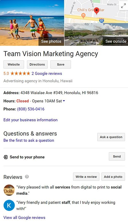 Hawaii SEO - Google Review Rich Result Feature