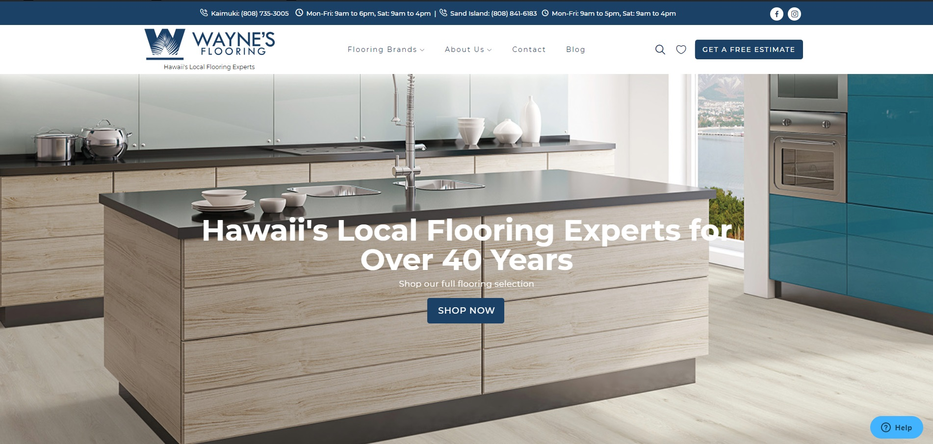 Hawaii Web Site Design and Branding- Wayne's Flooring Hawaii -