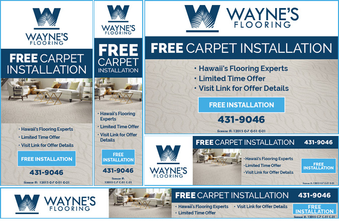 Wayne's Flooring Free Carpet Installation digital advertising by Team Vision Marketing
