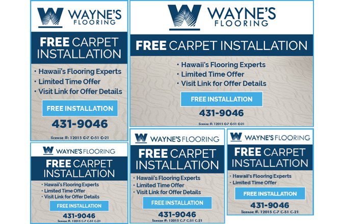Wayne's Flooring Free Carpet Installation digital marketing campaign design by Team Vision