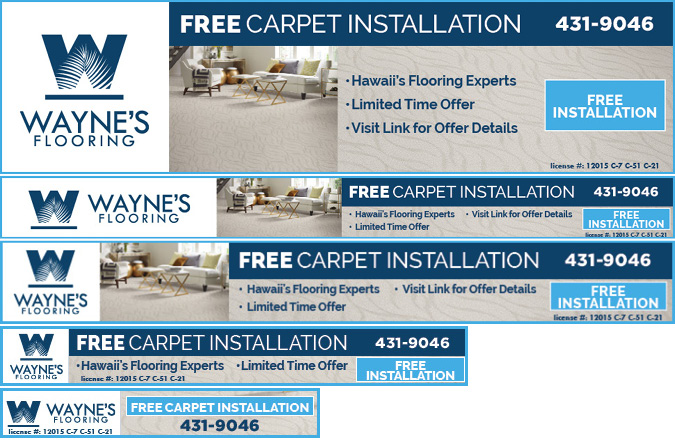 Wayne's Flooring Free Carpet Installation google ppc ads by Team Vision Marketing Hawaii