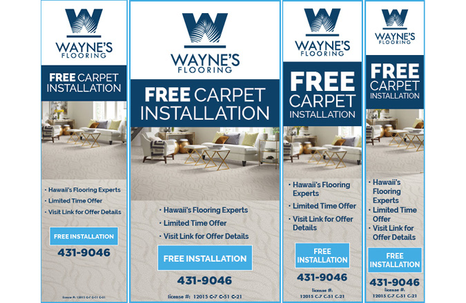 Wayne's Flooring Free Carpet Installation google advertising by Team Vision Marketing Hawaii