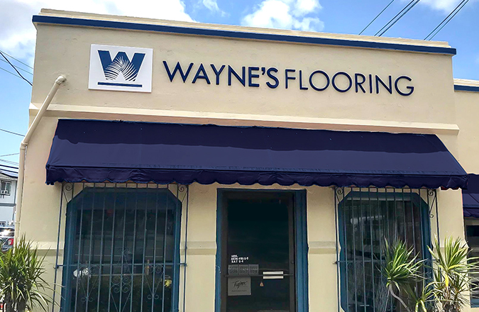 Wayne's Flooring Hawaii Sign designed by Team Vision Marketing Agency