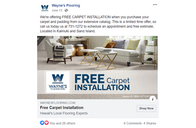 Wayne's Flooring Free Installation Facebook Ads by Team Vision Marketing