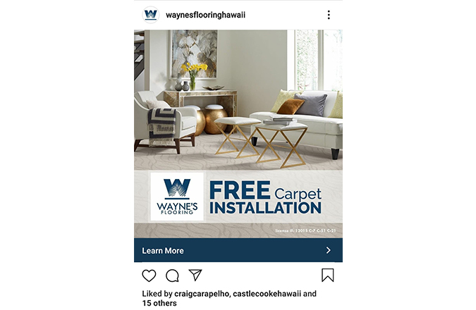 Wayne's Flooring Free Installation Instagram ad by Team Vision Marketing