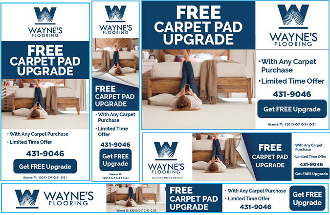 Team Vision designed the featured Free Carpet Pad Upgrade Google Ads for Wayne's Flooring Hawaii