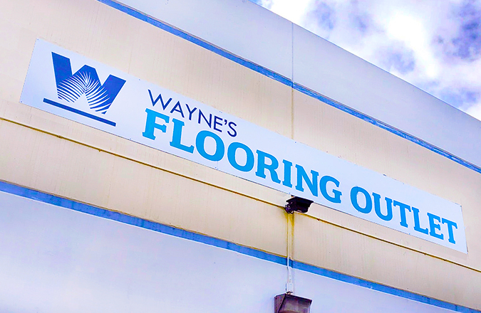 Wayne's Flooring Outlet Front Sign created by Team Vision Marketing